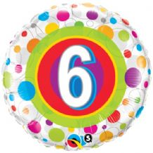 "Age 6 Colourful Dots Foil Balloon (18"") 1pc"